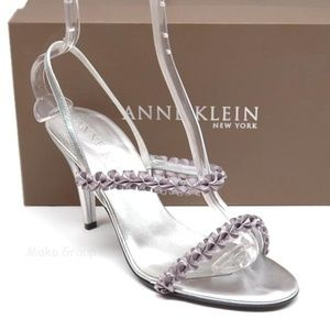 Anne Klein Felix Silver Slingback Heels 10 M New